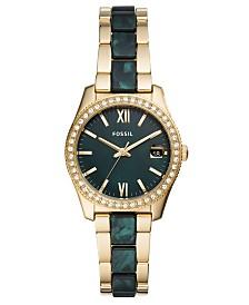 Fossil Women's Scarlette Mini Green & Gold-Tone Bracelet Watch 32mm