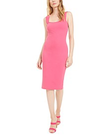 Square-Neck Midi Sheath Dress