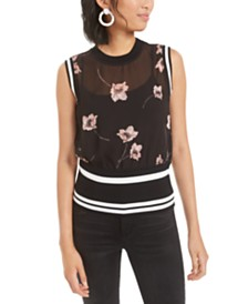 Bar III Semi-Sheer Floral-Print Top, Created for Macy's