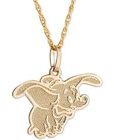 "Disney© Children's Dumbo 15"" Pendant Necklace in 14k Gold"