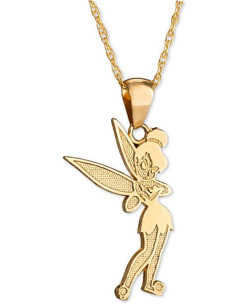 "Disney Children's Tinkerbell 15"" Pendant Necklace in 14k Gold"