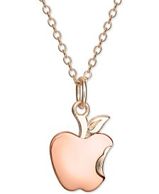 "Disney© Children's Snow White Bitten Apple 18"" Pendant Necklace in 18k Rose Gold-Plated Sterling Silver"