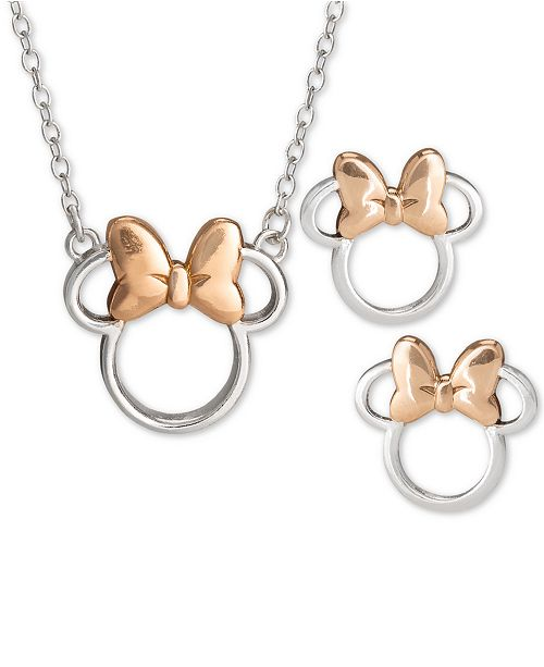 "Disney Children's 2-Pc. Set Minnie Mouse 18"" Pendant Necklace & Stud Earrings Set in Sterling Silver & 18k Rose Gold-Plate"