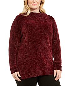 Plus Size Chenille Split Neck Pullover, Created for Macy's