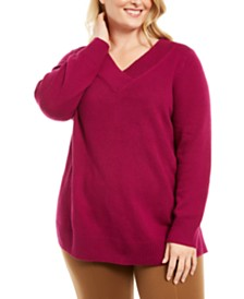 Karen Scott Plus Size V-Neck Sweater, Created for Macy's