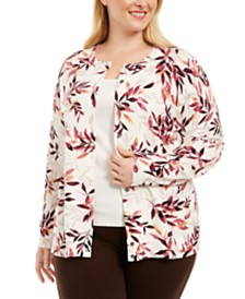 Karen Scott Plus Size Forest Glow Printed Cardigan Sweater, Created for Macy's