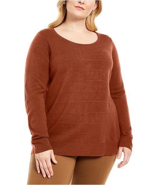 Karen Scott Plus Size Stripe Textured Sweater, Created For Macy's