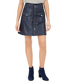INC Faux-Leather Snap Mini Skirt, Created For Macy's