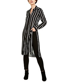 INC Striped Button-Up Tunic Top, Created for Macy's