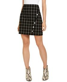 I.N.C. Windowpane Plaid Button Wrap Mini Skirt, Created for Macy's
