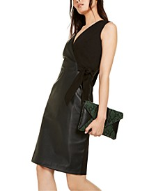 INC Mixed-Media Faux-Wrap Dress, Created For Macy's
