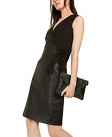 I.N.C. Mixed-Media Faux-Wrap Dress, Created For Macy's