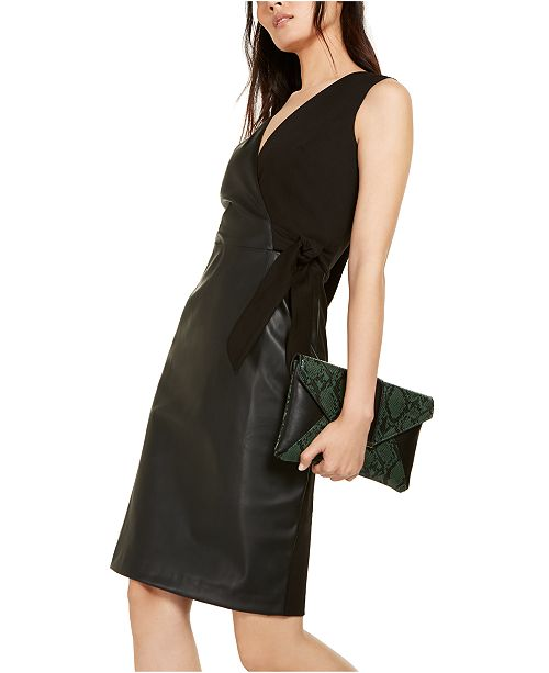 INC International Concepts I.N.C. Mixed-Media Faux-Wrap Dress, Created For Macy's