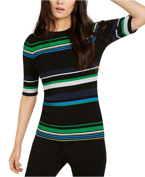 INC International Concepts I.N.C. Metallic Striped Ribbed Sweater, Created For Macy's