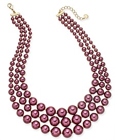 Imitation Pearl Three-Row Collar Necklace, Created for Macy's