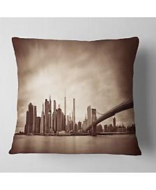 "Designart Manhattan Financial District Cityscape Throw Pillow - 26"" x 26"""