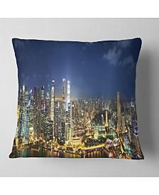 "Designart Singapore Skyscrapers Panorama Cityscape Throw Pillow - 26"" x 26"""
