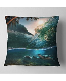 "Designart Tropical Paradise Seashore Seascape Throw Pillow - 26"" x 26"""