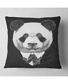 "Designart Funny Panda in Suit and Tie Animal Throw Pillow - 16"" x 16"""