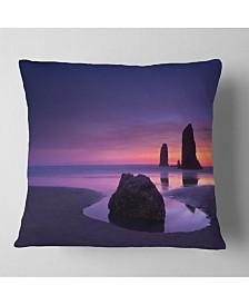"Designart Purple Haystack Rock Seascape Throw Pillow - 26"" x 26"""