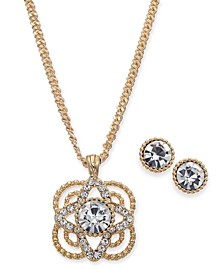 "Gold-Tone Crystal Flower Pendant Necklace & Stud Earrings Set, 17"" + 2"" extender, Created For Macy's"
