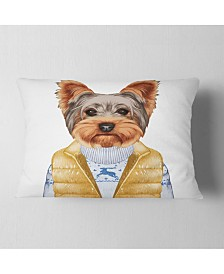 "Designart Terrier in Down Vest and Sweater Animal Throw Pillow - 12"" x 20"""