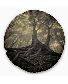 """Designart Tree with Big Roots on Halloween Landscape Photography Throw Pillow - 16"""" Round"""