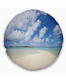 """Designart Serene Maldives Beach under Clouds Seascape Throw Pillow - 16"""" Round"""
