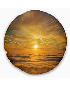 """Designart Golden Sunset over Clouds Oversized Beach Throw Pillow - 16"""" Round"""