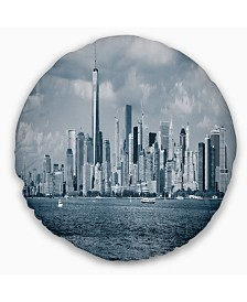 "Designart Lower Manhattan Panorama Black White Cityscape Throw Pillow - 16"" Round"