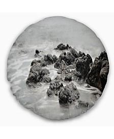"""Designart Black and White Rocky Coastline Seashore Throw Pillow - 16"""" Round"""