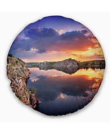 """Designart Large Summer Clouds Reflection Landscape Photography Throw Pillow - 20"""" Round"""