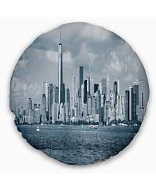 "Designart Lower Manhattan Panorama Black White Cityscape Throw Pillow - 20"" Round"