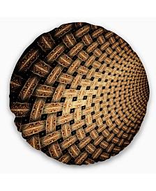 "Designart Large Symmetrical Brown Flower Floral Throw Pillow - 20"" Round"