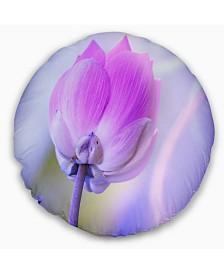 "Designart Large Single Lotus Flower Floral Throw Pillow - 20"" Round"