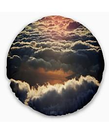 """Designart Heavy Dark Clouds At Sunset Floral Throw Pillow - 20"""" Round"""