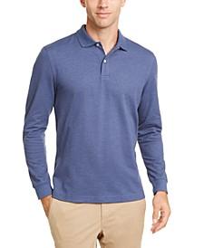 Men's Long-Sleeve Heathered Polo Shirt, Created for Macy's