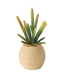 """10"""" Tall Real Touch Succulents Artificial Indoor/ Outdoor Faux Décor in Hemp Containers, Set of 2"""