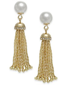 Gold-Tone Imitation Pearl Tassel Drop Earrings, Created for Macy's