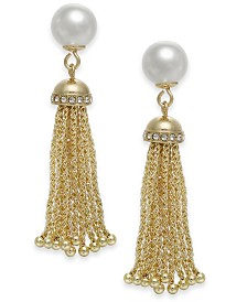 Charter Club Gold-Tone Imitation Pearl Tassel Drop Earrings, Created for Macy's