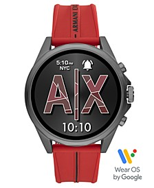 Men's Drexler Red Silicone Strap Touchscreen Smart Watch 46mm