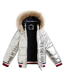 Tommy Hilfiger Baby Girls Fur-Trim Shiny Hooded Puffer Jacket