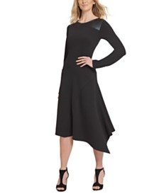 DKNY Faux-Leather-Trim Asymmetrical Dress