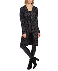 Vince Camuto Leopard Printed Open-Front Cotton Cardigan