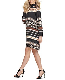 Mixed-Print Turtleneck Dress