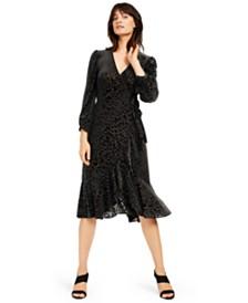 Calvin Klein Burnout Animal-Print Wrap Dress