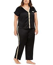 I.N.C. Plus Size Metallic-Trim Pajama Set, Created For Macy's