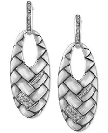 EFFY® Diamond Weave-Look Oval Drop Earrings (1/4 ct. t.w.) in Sterling Silver