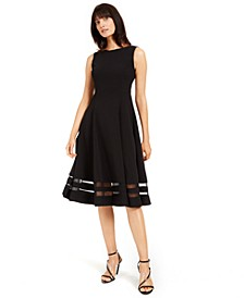 Illusion-Trim Fit & Flare Midi Dress