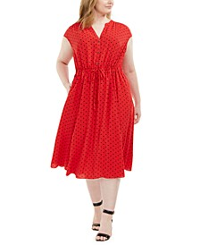 Ann Klein Plus Size Beekman Dot-Print Dress